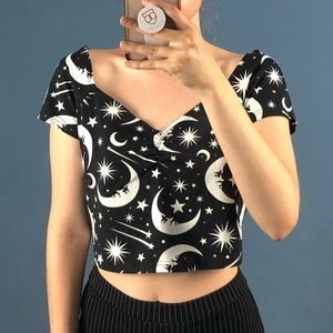 Star and Moon Crop Top